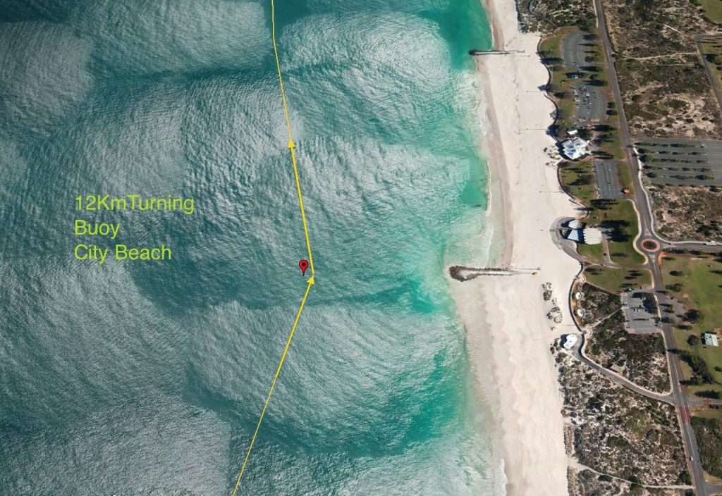 WCD race line : paddlers must pass inside marker bouy off City Beach groin